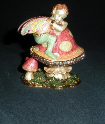 Beautiful Trinket Box with Fairy and Mushrooms