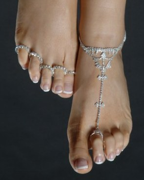 Silver and Crystal Slave Anklet