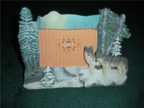 Nature Photo Frame with 3D Wolf and Trees