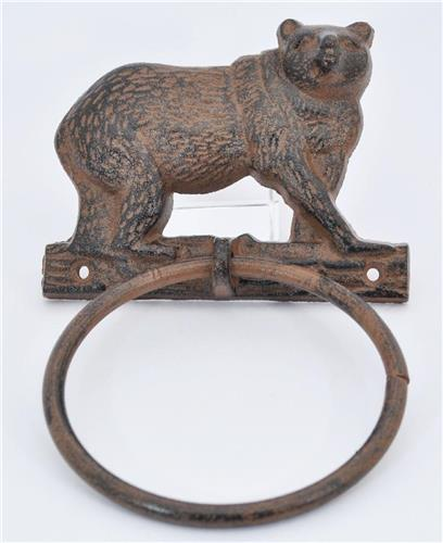 New Cast Iron Bear Towel Ring Wall Decor with Vintage Primitive Look!