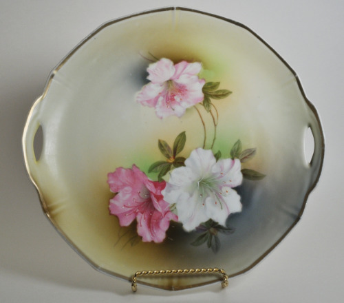 German Floral Hand Painted Plate Signed