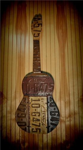Retro Vintage Style Acoustic Guitar Auto License Plate Tag Wall Folk Art