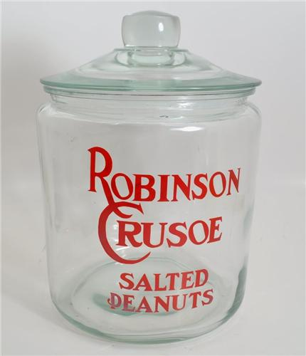 Drug Store Counter Display Robinson Crusoe Salted Peanut Cracker Cookie Jar