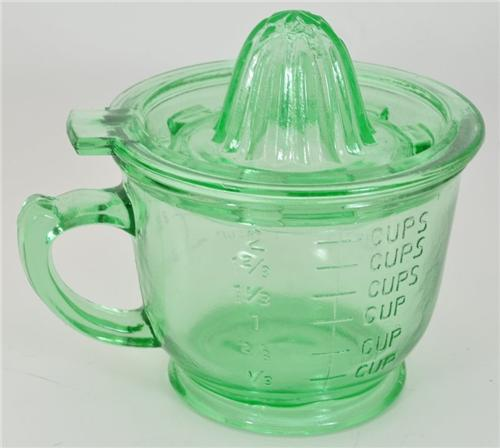 Vintage Style Vaseline Green Swirl Depression 2 Pc Juicer Measuring Cup Combo