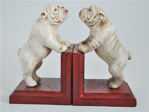Relatively New Vintage Styled Cast Iron English Bulldog Bookends Heavy  VX87