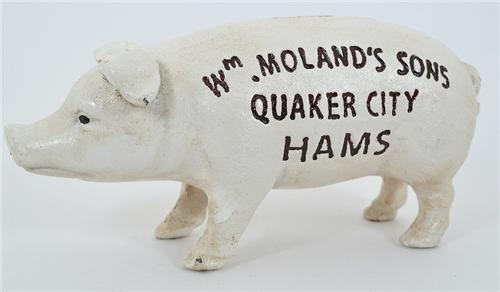 Cast Iron Quaker City Hams Vintage Style Advertising Pig Coin Bank