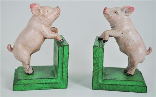 Vintage Style Heavy Cast Iron Pig Bookends