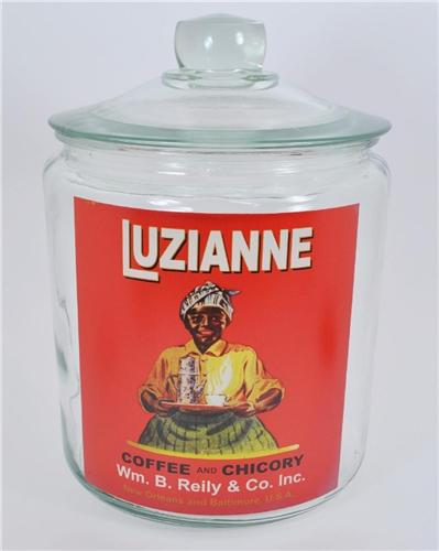 New Luzianne Coffee Tea Kitchen Display Snack Chip Cookie Jar Vintage Style