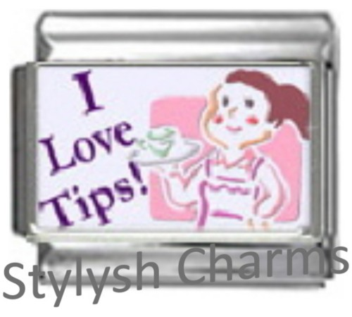 NC007 Italian Charm WAITRESS I LOVE TIPS Photo charm