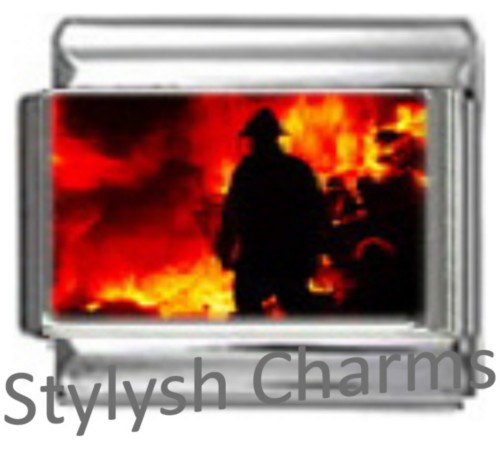 NC014 Italian Charm FIRE FIREMAN FIREFIGHTER Photo charm