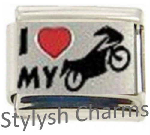 NC071 Italian Charm VEHICLE I LOVE MY MOTORCYCLE RH Laser charm