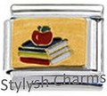 BOOK BOOKS APPLE SCHOOL TEACHER Enamel Italian Charm 9mm - 1 x NC121 Single Link