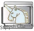 UNICORN WHITE HORSE Enamel Italian Charm 9mm - 1 x NC142 Single Bracelet Link