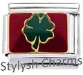IRISH FOUR LEAF CLOVER LUCKY Enamel Italian Charm 9mm - 1 x NC154 Single Link