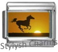 HORSE AT SUNSET Photo Italian Charm 9mm - 1 x HO004 Single Bracelet Link