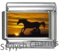 HORSE AT SUNSET Photo Italian Charm 9mm - 1 x HO005 Single Bracelet Link