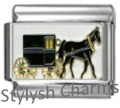 HORSE BUGGY AMISH Photo Italian Charm 9mm Link - 1 x HO013 Single Bracelet Link