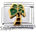 PALM TREE TROPICAL ISLAND Enamel Italian Charm 9mm Link - 1 x GA003 Single Link