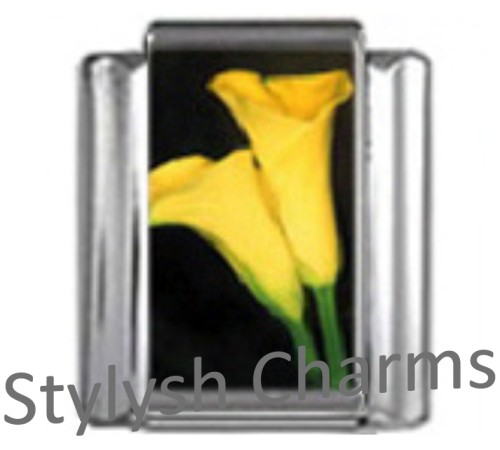 GA005 Italian Charm LILY CALLA FLOWER Photo Charm