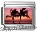 PALM TREES ISLAND Photo Italian Charm 9mm Link - 1 x GA016 Single Bracelet Link