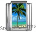 PALM TREES ISLAND BEACH Photo Italian Charm 9mm Link-1x GA017 Sgle Bracelet Link