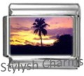 PALM TREE ISLAND AT DUSK Photo Italian Charm 9mm Link-1x GA018 Sgl Bracelet Link