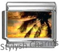 PALM TREE ISLAND AT DUSK Photo Italian Charm 9mm Link-1x GA019 Sgl Bracelet Link