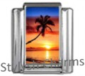 PALM TREE ISLAND SUNSET Photo Italian Charm 9mm Link-1x GA028 Sgle Bracelet Link