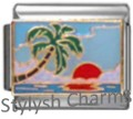 PALM TREE AT SUNSET Enamel Italian Charm 9mm Link- 1x GA051 Single Bracelet Link
