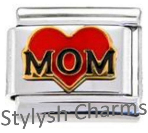 FA029 Italian Charm MOTHER LOVE RED HEART Enamel Charm