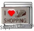 Italian Charm I LOVE SHOPPING Red Heart RH Laser Charm NC081