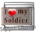 Italian Charm I LOVE MY SOLDIER HERO Red Heart RH Laser Charm NC082