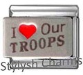 Italian Charm I LOVE OUR TROOPS HEROES Red Heart RH Laser Charm NC083