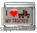VEHICLE I LOVE MY TRUCKER RH Laser Italian Charm 9mm-1x NC085 Sgle Bracelet Link