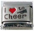 Italian Charm I LOVE TO CHEER Red Heart RH Laser Charm SP023
