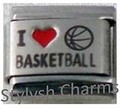 Italian Charm I LOVE BASKETBALL Red Heart RH Laser Charm SP025