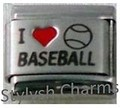 Italian Charm I LOVE BASEBALL Red Heart RH Laser Charm SP026