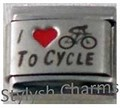 Italian Charm I LOVE TO CYCLE Red Heart RH Laser Charm SP027