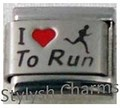 Italian Charm I LOVE TO RUN Red Heart RH Laser Charm SP028