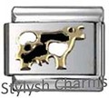AN007 Italian Charm BLACK WHITE COW FARM Enamel Charm