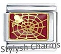 AN083 Italian Charm SPIDER SPIDER WEB INSECT Enamel Charm