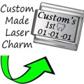 CUSTOM MADE BABY 1ST TOOTH Engraved Italian Charm 9mm-1xCP008 Sgle Bracelet Link