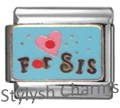 SISTER RED LOVE HEART FOR SIS Enamel Italian Charm 9mm - 1 x FA020 Single Link