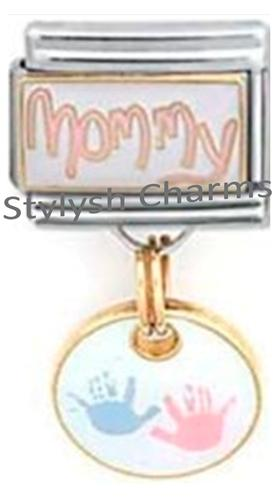 FA037 Italian Charm MOMMY BABY BOY GIRL HANDPRINT Dangle Charm