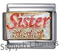 SISTER LOVE WITH ROSES Enamel Italian Charm 9mm - 1 x FA039 Single Bracelet Link