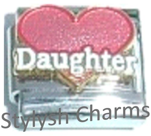 FA043 Italian Charm DAUGHTER PINK LOVE HEART Enamel Charm