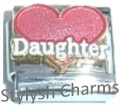 DAUGHTER PINK LOVE HEART Enamel Italian Charm 9mm- 1x FA043 Single Bracelet Link