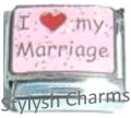 HUSBAND WIFE I LOVE MY MARRIAGE Enamel Italian Charm 9mm - 1 x FA044 Single Link