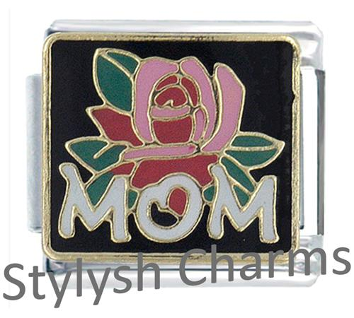 FA046 Italian Charm MOM LOVE WITH ROSE Enamel Charm