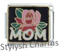MOM LOVE WITH ROSE Enamel Italian Charm 9mm - 1 x FA046 Single Bracelet Link